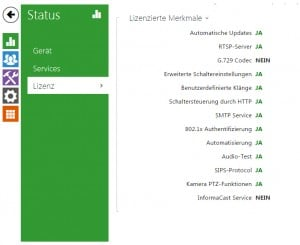 Screenshot der 2N EntryCom IP - Lizenzierte Merkmale